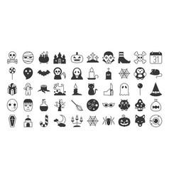 Big set of halloween silhouette icon vector