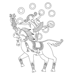 Black and white line art of circus vector