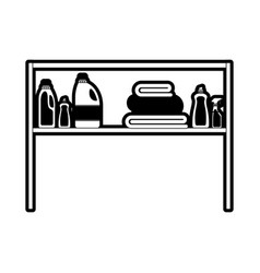 Black sections silhouette of rack with clothing vector