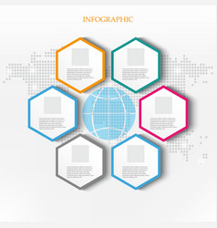 business infographicsworld mapglobe and hexagons vector image