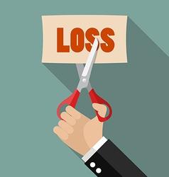 Businessman cut loss vector