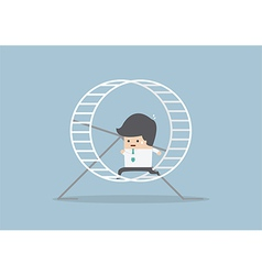 Businessman running in a hamster wheel vector image