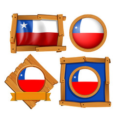 Chile flag on different frames vector