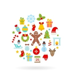 Christmas Colorful Flat Icons vector image vector image