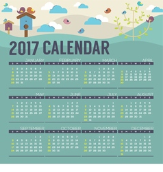 Cute Birds 2017 Printable Calendar Starts Sunday vector image
