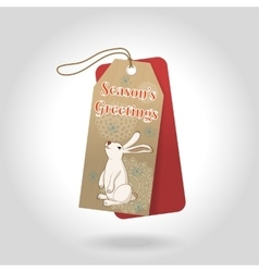 cute Seasons Greetings Christmas gift tags vector image