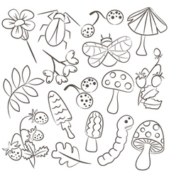 Floral and animal doodle icon set vector