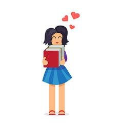 Girl hugging books vector image