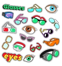 Glasses and eyes decorative elements for stickers vector