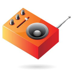 Isometric icon of orange radio vector image vector image