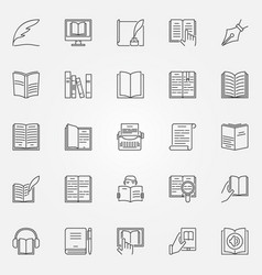 literature icons set vector image