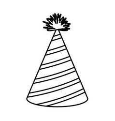 Monochrome silhouette of party hat with diagonal vector