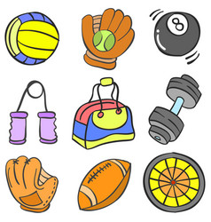 Object sport various doodle collection vector