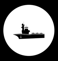 One aircraf carrier simple black icon eps10 vector