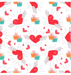 Present boxes with hearts valentines day concept vector
