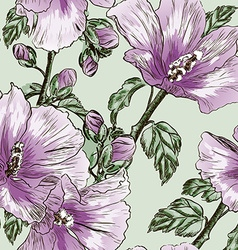 Purple seamless floral background with hibiscus vector