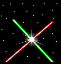 Red and green crossed light swords on night sky vector