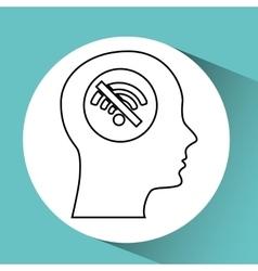 Silhouette head wireless wifi icon vector