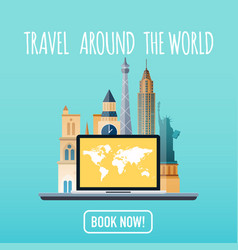 Travel around the world vacation booking flat vector