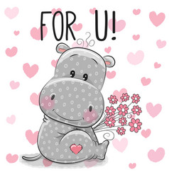 Valentine card cute cartoon hippo with flowers vector
