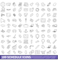 100 schedule icons set outline style vector