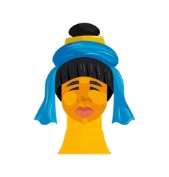 Padaung woman with neck rings icon cartoon style vector
