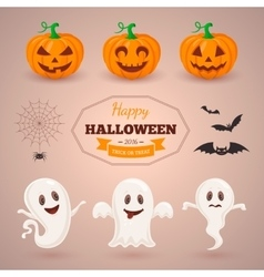 Ghosts pumpkins and bats vector