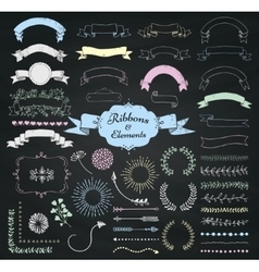 Chalk drawing design elements and ribbons vector