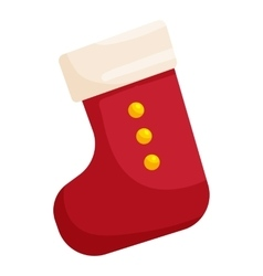 Red christmas sock icon cartoon style vector