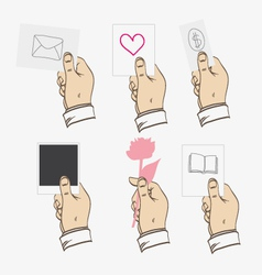 Hands hold different objects vector image