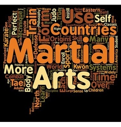 Martial arts text background wordcloud concept vector