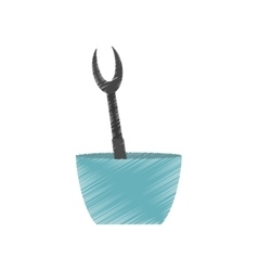 drawing grilled fork bowl utensil kitchen vector image