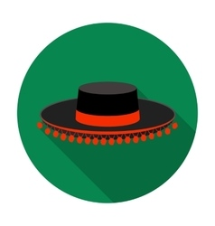 Traditional spanish hat icon in flat style vector