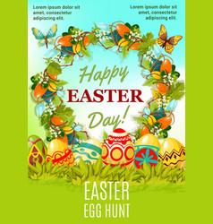 Easter holiday egg hunt cartoon poster design vector