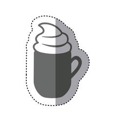 sticker monochrome silhouette mug of cappuccino vector image