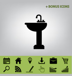 Bathroom sink sign  black icon at gray vector