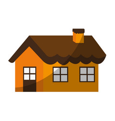 Cute one story house with chimney icon image vector