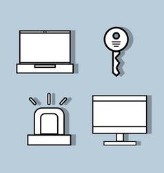 Set technology tools communication concept vector
