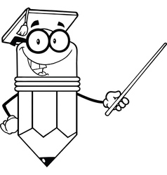 Cartoon pencil classroom teacher vector