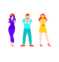 Flat three people concept vector