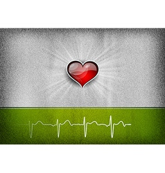 medical cardio heart grey green vector image