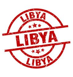 Libya red round grunge stamp vector