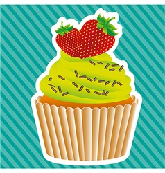 Cupcake sticker on bottom lines vector