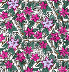 Floral seamless pattern with fuchsia and pink trop vector image