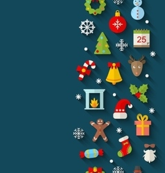 Christmas Flat Icons with Long Shadows vector image