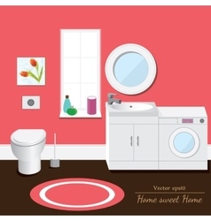 Bathroom interior volume pink background vector