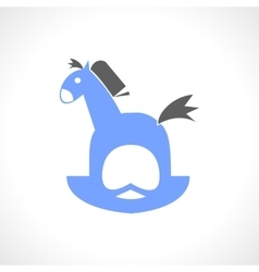 Blue rocking horse for children vector