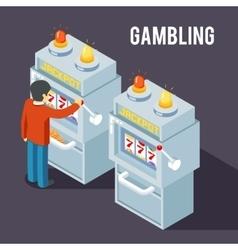 Casino slot machine using fruit jackpot vector