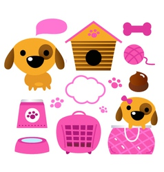 Cute dog accessories collection isolated on white vector image