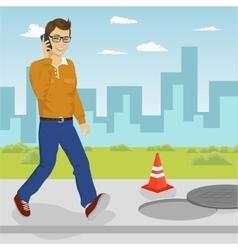Man walking into open manhole vector image